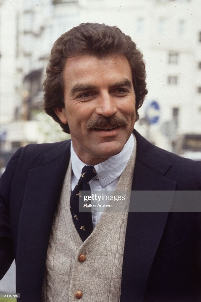 American actor Tom Selleck in London, where he is filming an episode of 'Magnum PI'.