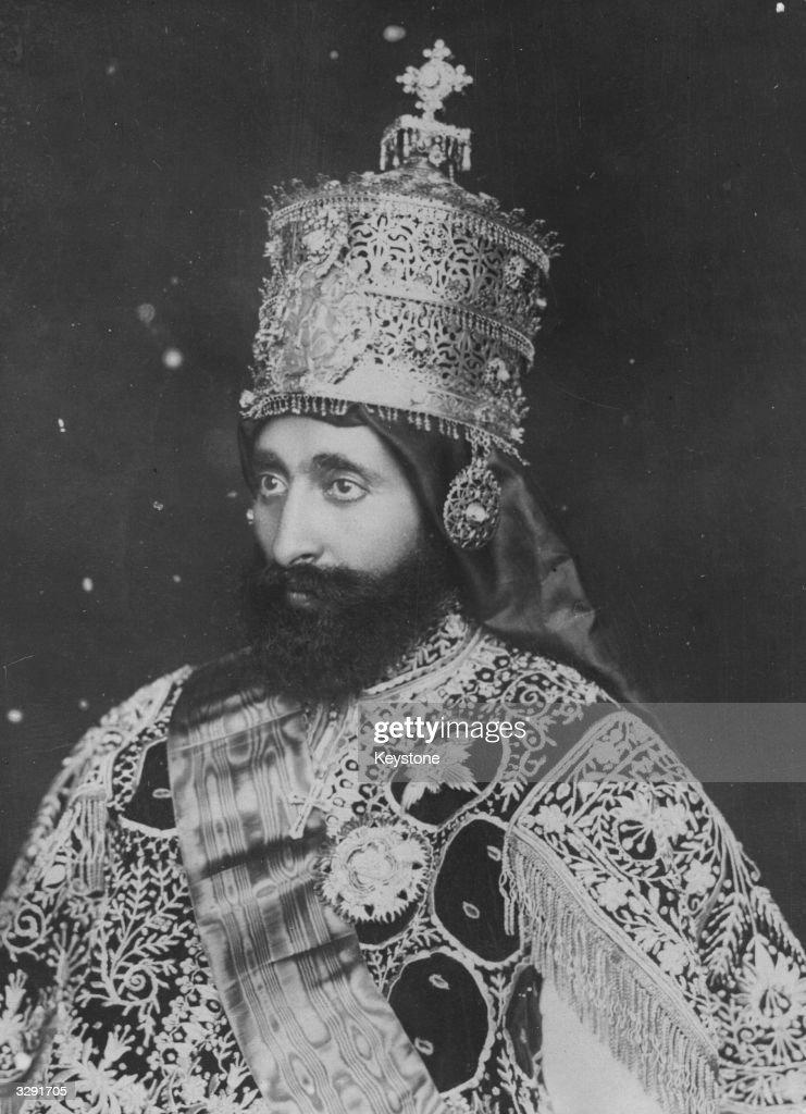 Emperor of Ethiopia Haile Selassie I (1892 - 1975), originally Prince Ras Tafari Makonnen, in full coronation regalia.