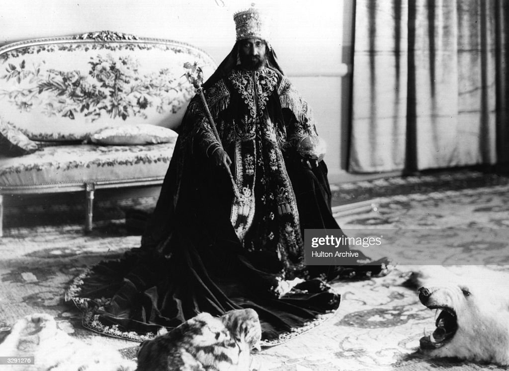 Negusa Negasti, Emperor of Ethiopia Haile Selassie I (1892 - 1975), known as 'Lord of Lords', 'the Conquering Lion of the tribe of Judah', 'light of the world', 'Elect of God', in full ceremonial regalia following his coronation.
