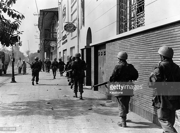 French troops on duty at Port Said during the Suez Crisis