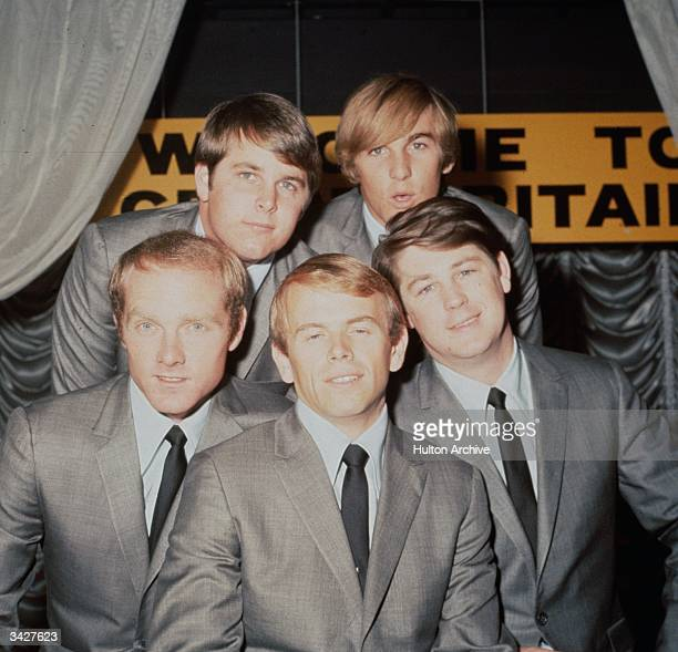 American pop group The Beach Boys Back row Brian Wilson and Dennis Wilson Front row left to right Mike Love Al Jardine and Carl Wilson and Mike Love