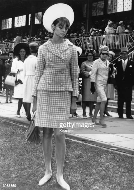 British fashion icon Jean Shrimpton at the Melbourne races Australia