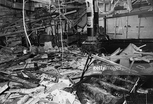 The shattered interior of the Mulberry Bush public house in Birmingham after a terrorist bomb explosion killed 19 people