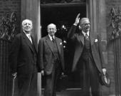 L to R Lord Woolton Leader of the House of Lords Lord Salisbury and Foreign Secretary Anthony Eden entering No 10 Downing Street for a cabinet meeting