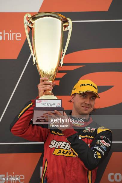 2nd palce Chaz Mostert driver of the Supercheap Auto Racing Ford Falcon FGX celebrates after race 15 for the Ipswich SuperSprint which is part of the...