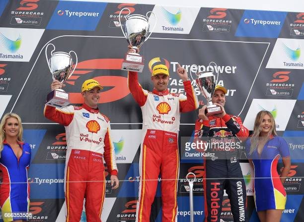 2nd place Scott McLaughlin driver of the Shell VPower Racing Team Ford Falcon FGX 1st place Fabian Coulthard driver of the Shell VPower Racing Team...