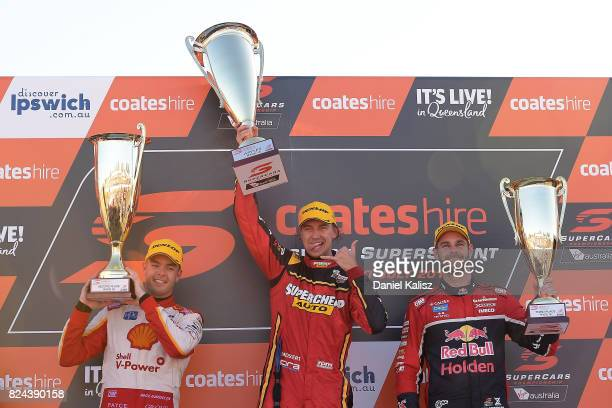 2nd place Scott McLaughlin driver of the Shell VPower Racing Team Ford Falcon FGX 1st place Chaz Mostert driver of the Supercheap Auto Racing Ford...