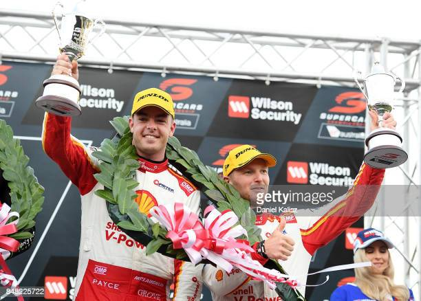 2nd Place Scott McLaughlin driver of the Shell VPower Racing Team Ford Falcon FGX and Alex Premat driver of the Shell VPower Racing Team Ford Falcon...