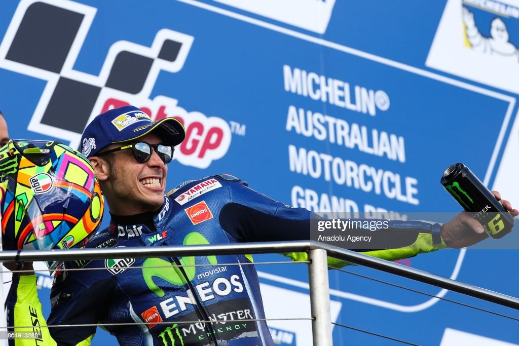 2nd place Valentino Rossi of Italy riding for Movistar Yamaha MotoGP celebrates on the podium during the 2017 MotoGP of Australia Phillip Island Grand Prix Circuit in Phillip Island, Australia October 22, 2017.