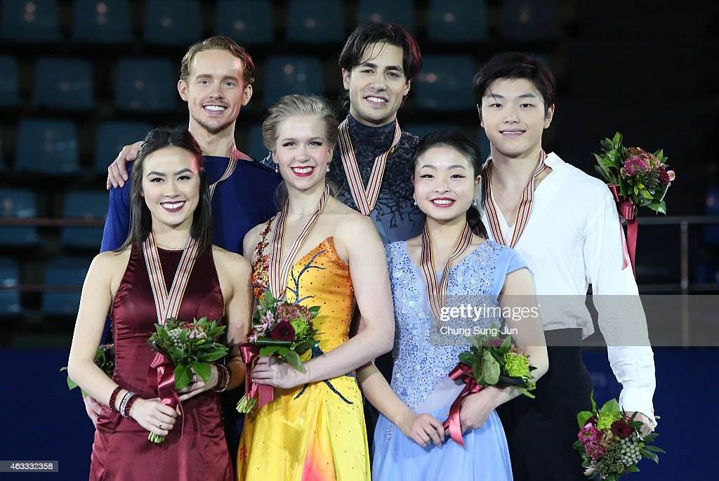 2nd place winner Madison Chock and Evan Bates of United States 1st place winner Kaitlyn Weaver and Andrew Poje of Canada and 3rd place winner Maia...
