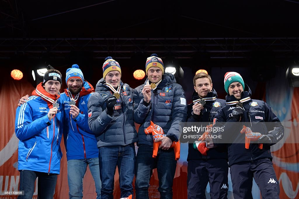 , 2nd placed team Russia, <a gi-track='captionPersonalityLinkClicked' href=/galleries/search?phrase=Nikita+Kriukov&family=editorial&specificpeople=4907513 ng-click='$event.stopPropagation()'>Nikita Kriukov</a> and <a gi-track='captionPersonalityLinkClicked' href=/galleries/search?phrase=Alexey+Petukhov&family=editorial&specificpeople=6753232 ng-click='$event.stopPropagation()'>Alexey Petukhov</a>, winning team Norway, Finn Haagen Krogh and Petter Jr Northug and 3rd placed team Italy Dietmar Noeckler and <a gi-track='captionPersonalityLinkClicked' href=/galleries/search?phrase=Federico+Pellegrino&family=editorial&specificpeople=7398392 ng-click='$event.stopPropagation()'>Federico Pellegrino</a>, pose with their medals during the medal ceremony after competing in the men cross-country 6 x1,4 km free team sprint final at the 2015 FIS Nordic World Ski Championships in Falun, Sweden, on February 22, 2015.