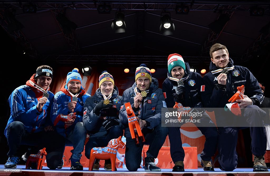 , 2nd placed team Russia, <a gi-track='captionPersonalityLinkClicked' href=/galleries/search?phrase=Nikita+Kriukov&family=editorial&specificpeople=4907513 ng-click='$event.stopPropagation()'>Nikita Kriukov</a> and <a gi-track='captionPersonalityLinkClicked' href=/galleries/search?phrase=Alexey+Petukhov&family=editorial&specificpeople=6753232 ng-click='$event.stopPropagation()'>Alexey Petukhov</a>, winning team Norway, Finn Haagen Krogh and Petter Jr Northug and 3rd placed team Italy Federico Pellegrino and Dietmar Noeckler pose with their medals during the medal ceremony after competing in the men cross-country 6 x1,4 km free team sprint final at the 2015 FIS Nordic World Ski Championships in Falun, Sweden, on February 22, 2015.