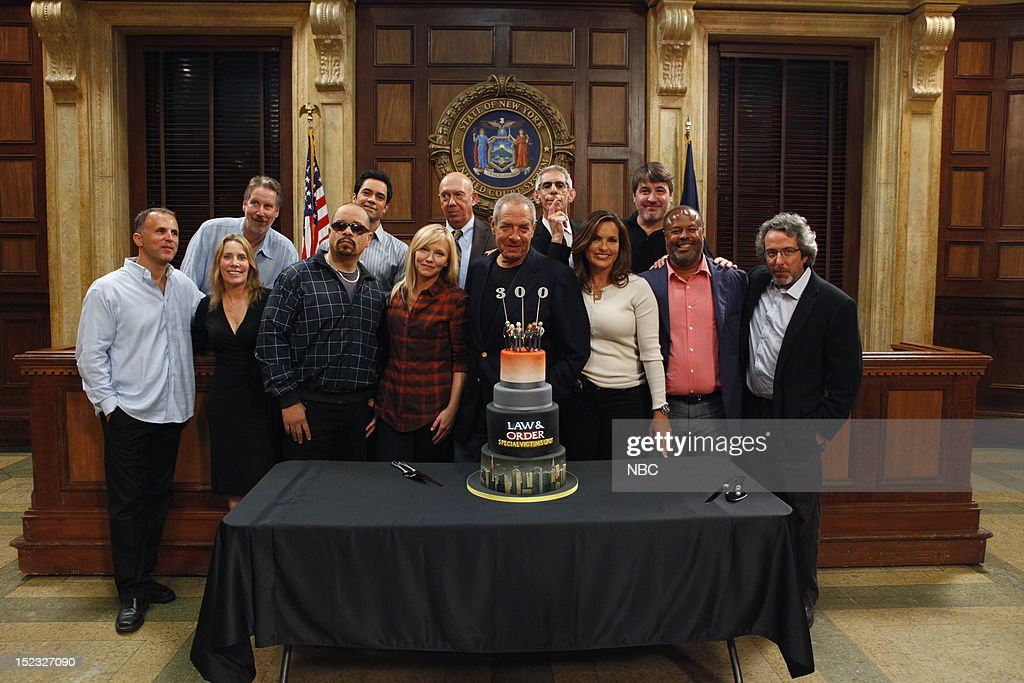 UNIT -- 300th Episode Celebration -- Pictured: (l-r) Co-Executive Producer Michael Smith, Executive Producer Julie Martin, Co-Executive Producer Ed Zuckerman, <a gi-track='captionPersonalityLinkClicked' href=/galleries/search?phrase=Ice-T&family=editorial&specificpeople=213017 ng-click='$event.stopPropagation()'>Ice-T</a> as Detective Odafin 'Fin' Tutuola, <a gi-track='captionPersonalityLinkClicked' href=/galleries/search?phrase=Danny+Pino&family=editorial&specificpeople=240258 ng-click='$event.stopPropagation()'>Danny Pino</a> as Detective Nick Amaro, <a gi-track='captionPersonalityLinkClicked' href=/galleries/search?phrase=Kelli+Giddish&family=editorial&specificpeople=2159135 ng-click='$event.stopPropagation()'>Kelli Giddish</a> as Detective Amanda Rollins, <a gi-track='captionPersonalityLinkClicked' href=/galleries/search?phrase=Dann+Florek&family=editorial&specificpeople=842370 ng-click='$event.stopPropagation()'>Dann Florek</a> as Captain Donald Cragen, Executive Producer <a gi-track='captionPersonalityLinkClicked' href=/galleries/search?phrase=Dick+Wolf&family=editorial&specificpeople=210651 ng-click='$event.stopPropagation()'>Dick Wolf</a>, <a gi-track='captionPersonalityLinkClicked' href=/galleries/search?phrase=Richard+Belzer&family=editorial&specificpeople=206227 ng-click='$event.stopPropagation()'>Richard Belzer</a> as Detective John Munch, <a gi-track='captionPersonalityLinkClicked' href=/galleries/search?phrase=Mariska+Hargitay&family=editorial&specificpeople=204727 ng-click='$event.stopPropagation()'>Mariska Hargitay</a> as Detective Olivia Benson, Executive Producer Peter Jankowski, Co-Executive Producer Arthur Forney, Executive Producer Warren Leight --