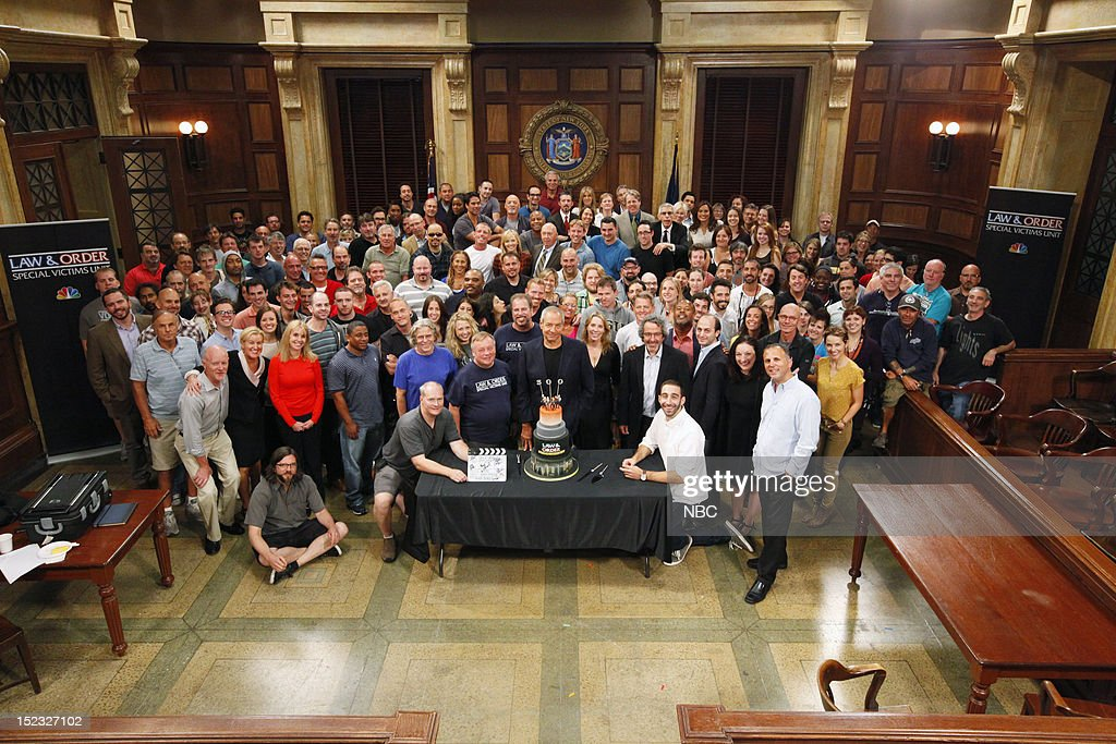UNIT -- 300th Episode Celebration -- Pictured: The cast and crew of 'Law & Order: Special Victims Unit' surround Executive Producer Dick Wolf to celebrate the 300th episode of the show --