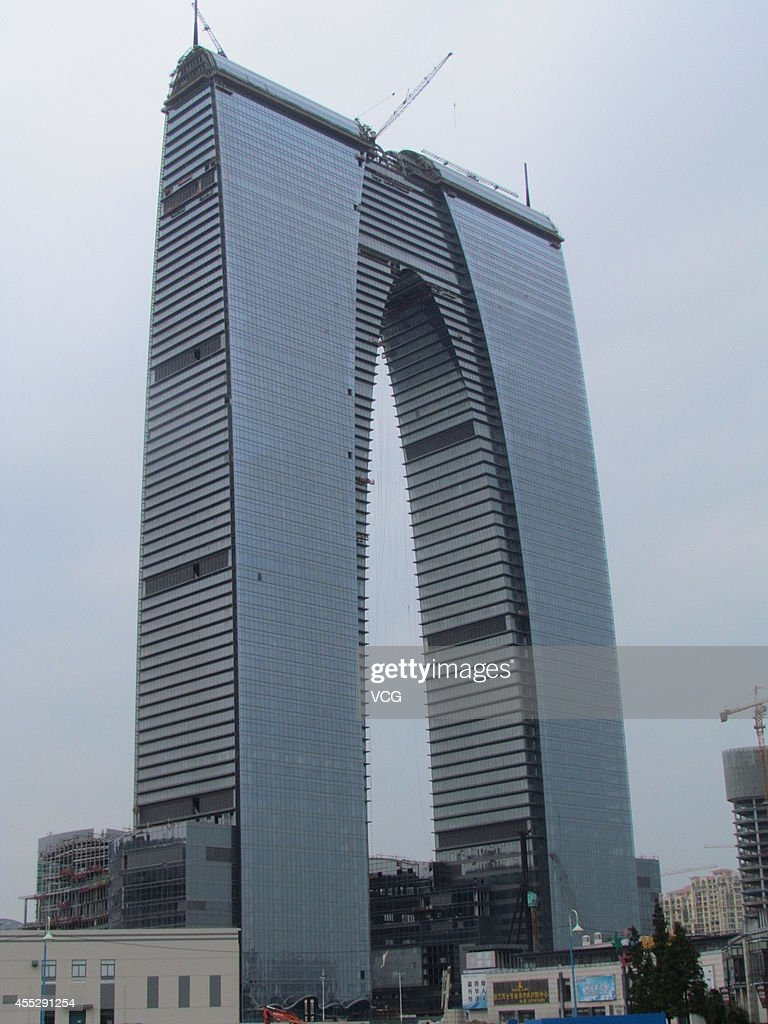 A 3018metertall building named 'The Gate of the Orient' looks like Long Johns on September 11 2014 in Suzhou Jiangsu province of China A...