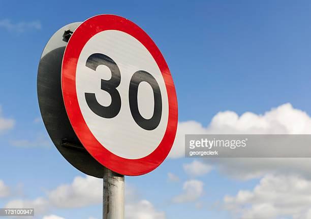 30 Mph Placa de Limite de Velocidade