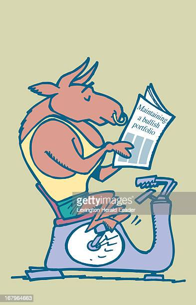30p x 46p Chris Ware color illustration of a Wall Street bull riding an exercise machine while reading a newspaper headlined 'Maintaining a bullish...