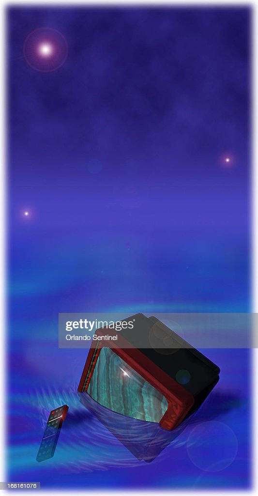 30p x 58p color illustration of television, remote control floating in pool of water.