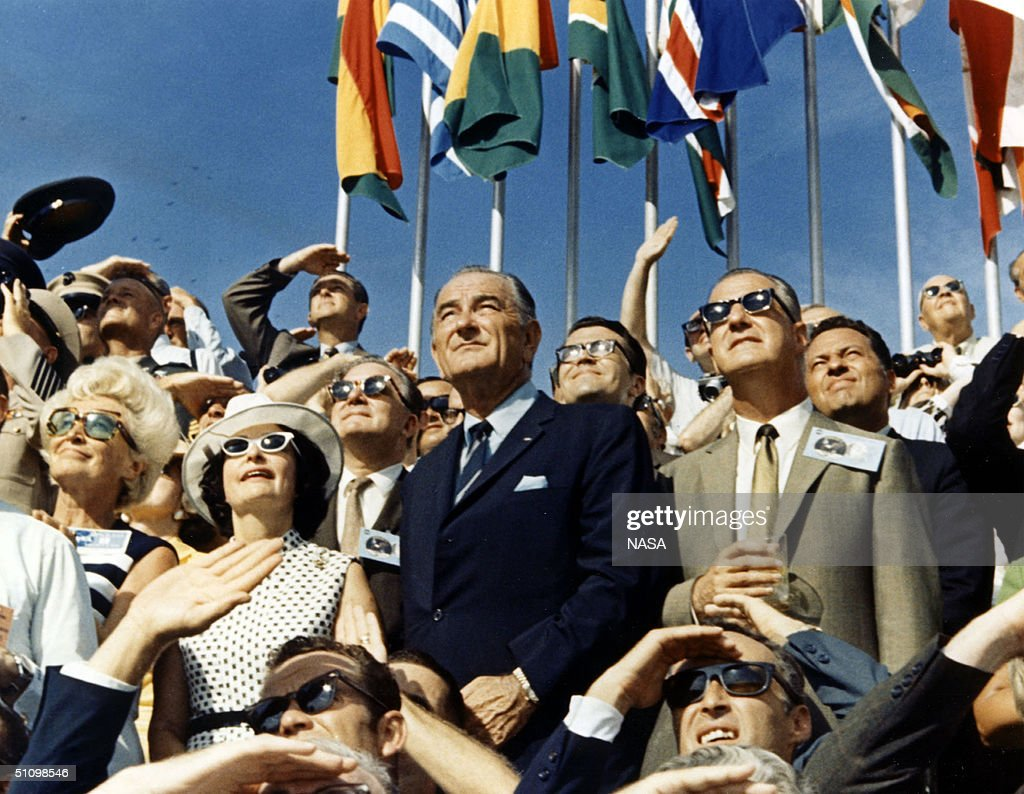 30Th Anniversary Of Apollo 11 Landing On The Moon Vice President Spiro Agnew And Former President Lyndon Johnson View The Liftoff Of Apollo 11 From...