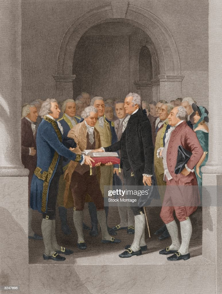 The inauguration of <a gi-track='captionPersonalityLinkClicked' href=/galleries/search?phrase=George+Washington&family=editorial&specificpeople=67214 ng-click='$event.stopPropagation()'>George Washington</a> as the first President of the United States, at the Federal Hall in New York City. Robert Livingston (left), Chancellor of New York State administers the oath of office. Also present (from left to right) are Arthur St Clair, Samuel A Otis, General Henry Knox, Roger Sherman, (Washington), Baron Friedrich von Steuben and John Adams.