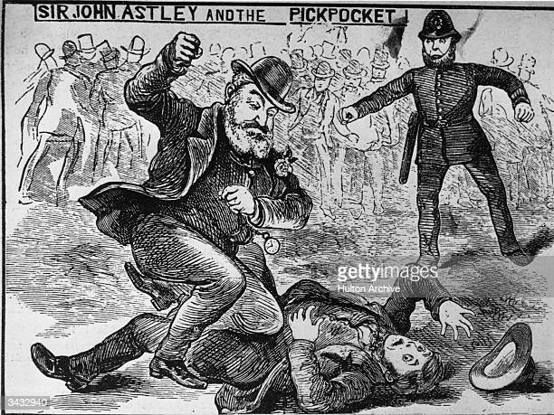 A man attacking a pickpocket while a policeman looks on Original Publication From the Illustrated Police News pub 1887