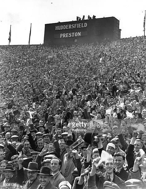 Crowds of supporters fill the stands at Wembley Stadium for the FA Cup Final between Preston North End and Huddersfield Town Preston won 10 after...