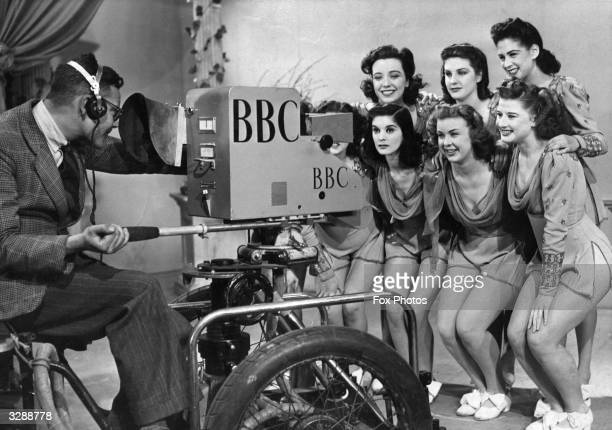 A group of 'Windmill Girls' dressed for the occasion being televised at BBC's Alexandra Palace studios