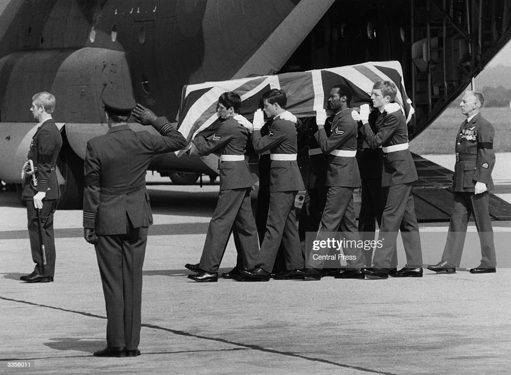 The body of Lord Mountbatten (1900 - 1979), British naval commander and statesman, arrives at the airport, along with the coffins of his grandson Nicholas and Dowager Lady Brabourne, murdered in an IRA bomb attack at Lake Mullaghmore, Eire.