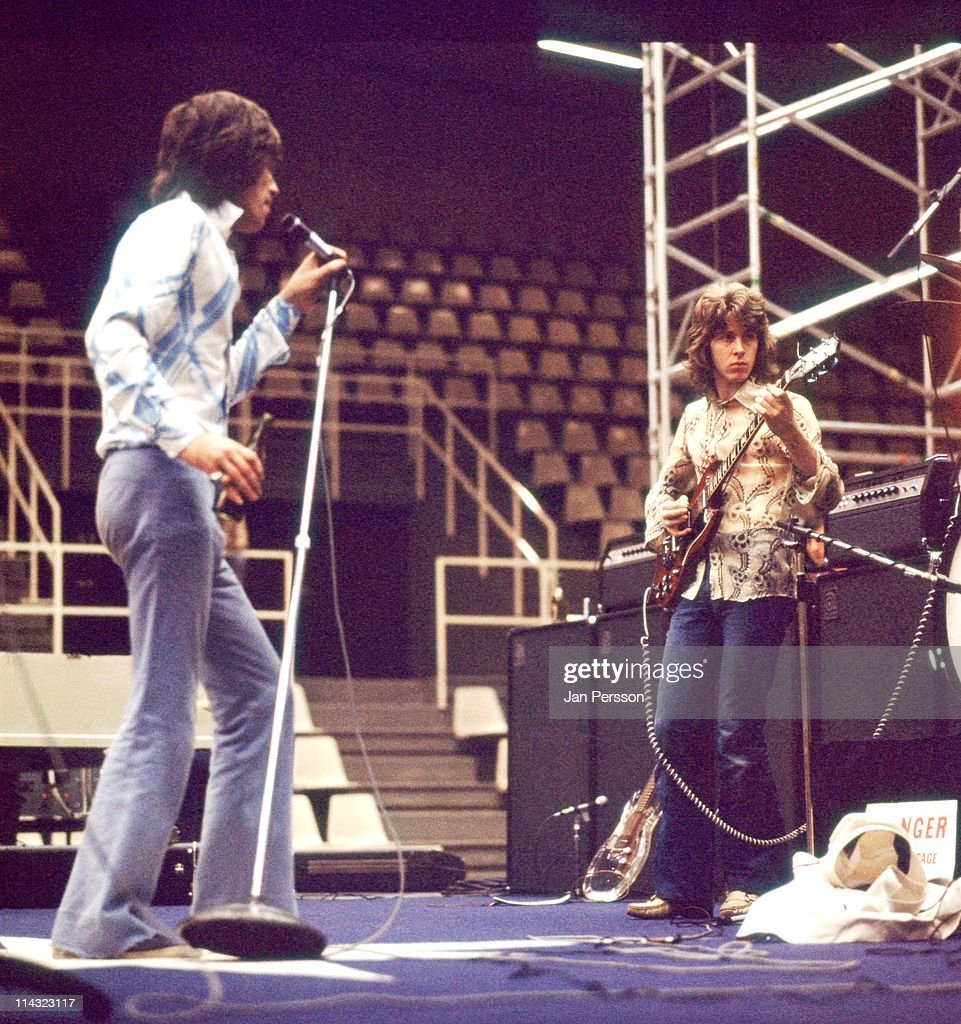 The Rolling Stones rehearse on stage at the Baltiska Hallen in Malmo, Sweden on 30th August 1970. Left to Right: Mick Jagger, Mick Taylor.