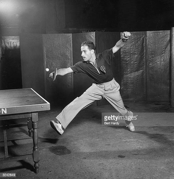 French player Guy Amouretti seen playing in the 1950 World Table Tennis Championships at Wembley London where he eventually reached the semifinals of...