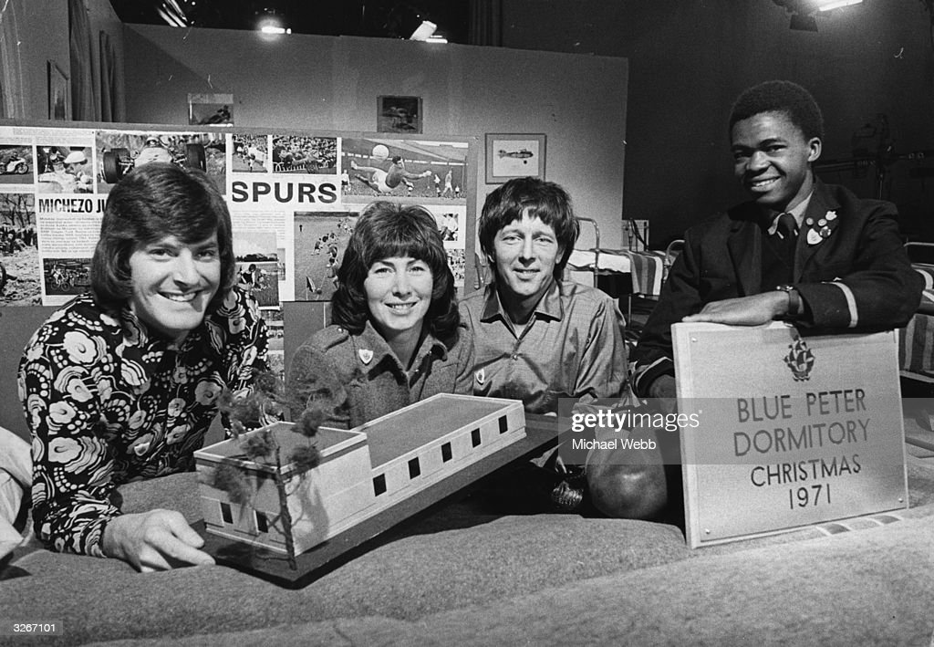 'Blue Peter' presenters Peter Purves, Valerie Singleton and John Noakes with Joseph Mutuku, a 16-year-old from the Starehe Centre in Kenya.