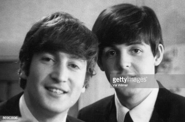 Paul McCartney and John Lennon from The Beatles posed backstage at the Finsbury Park Astoria London during the band's Christmas Show residency on...