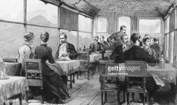 Passengers on board the Orient Express train are served lunch Original Publication The Graphic pub 1886