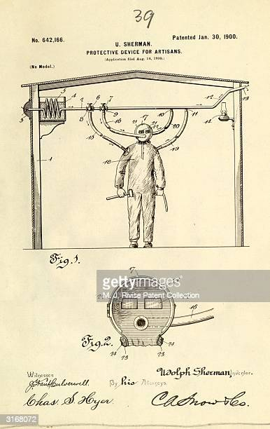 Udolph Sherman's patent design for a 'protective device for artisans' which is a suit connected to air tubes to provide independent air supply for...