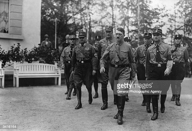 Adolf Hitler with one of his principal lieutenants Rudolf Hess marching to the Reichstag in Berlin on the day Hitler took his seat as Chancellor of...