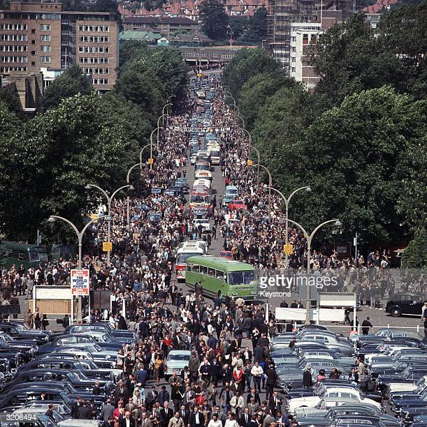 Crowds arrive at Wembley Stadium London for the 1966 World Cup Final match between England and West Germany which England won 42 after extra time