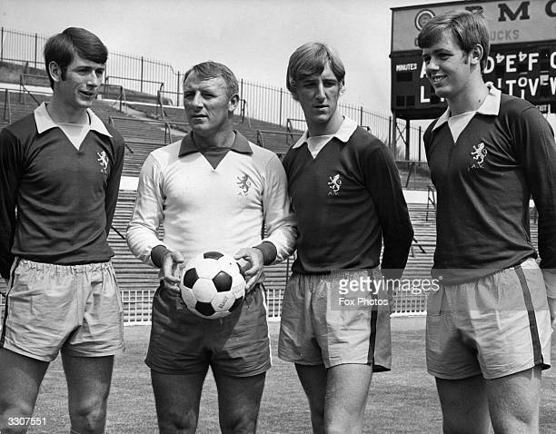 Aston Villa manager Tommy Docherty with new signings Bruce Rioch Ian 'Chico' Hamilton and Neil Rioch at Villa Park Docherty known as 'The Doc' won 25...