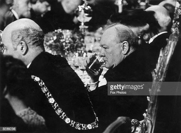Winston Churchill at a luncheon with the Lord Mayor at the Mansion House in the City of London