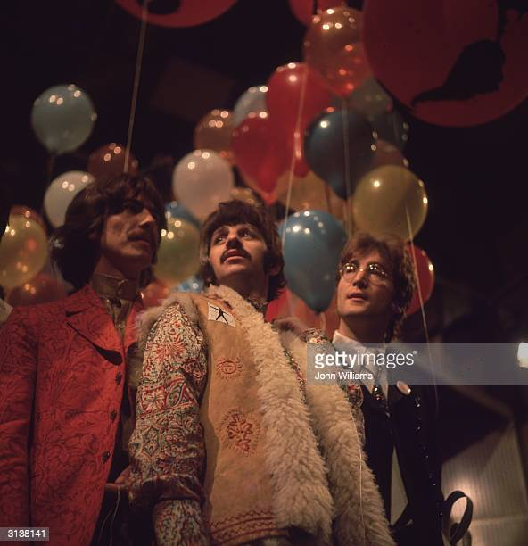 George Harrison Ringo Starr and John Lennon of the Beatles at the EMI studios in Abbey Road as they prepare for 'Our World' a worldwide live...