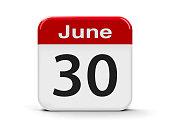 Calendar web button - The Thirtieth of June, three-dimensional rendering, 3D illustration