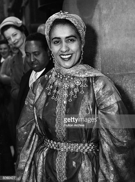 Princess Moulay Hassan ben al Mehdi Alaoui of Morocco the wife of the first Moroccan Ambassador leaves her hotel on the way to Buckingham Palace to...
