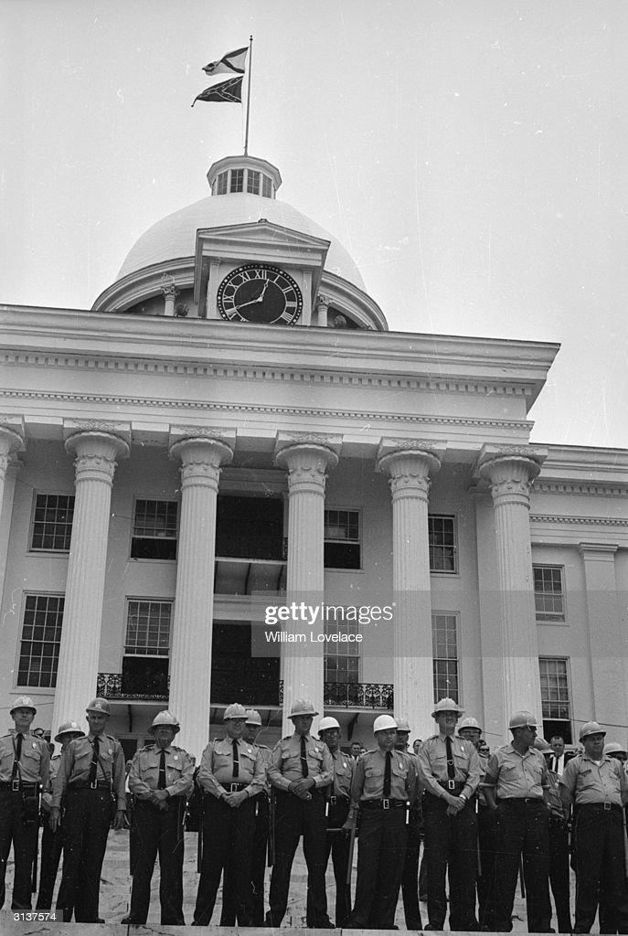The Capitol Building in Montgomery, Alabama, is heavily guarded against protestors on the second black voting rights march from Selma, Alabama, organised by Martin Luther King.