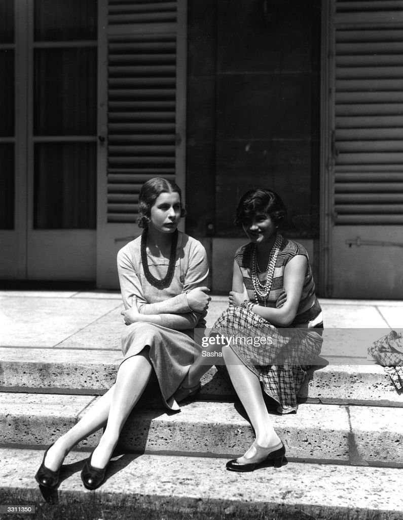 French fashion designer Coco Chanel (Gabrielle Bonheur Chanel, 1883-1971) (right) with Lady Abdy at Fanbourg St Honore in France.