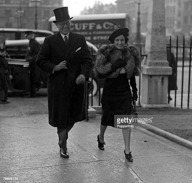 30th May 1938 London England The American Ambassador to the UK Joseph Kennedy is accompanied by his wife Rose as they arrive at St Margarets...