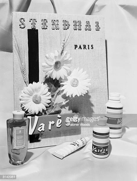 A selection of Varese sun care products and a sign for Stendhal in Paris