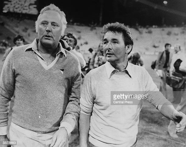 Nottingham Forest manager Brian Clough with assistant manager Peter Taylor after Forest beat the Swiss champions Malmo 10 in the European Cup Final...