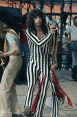 Singer Steven Tyler of American rock group Aerosmith on stage at the RFK Stadium in Washington DC on 30th May 1976 On the left is Rhythm guitarist...