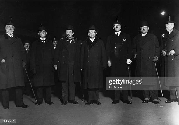 The international signatories of the Locarno Pact arrive at Victoria Station London after the signing of the historic treaties in Locarno Switzerland...