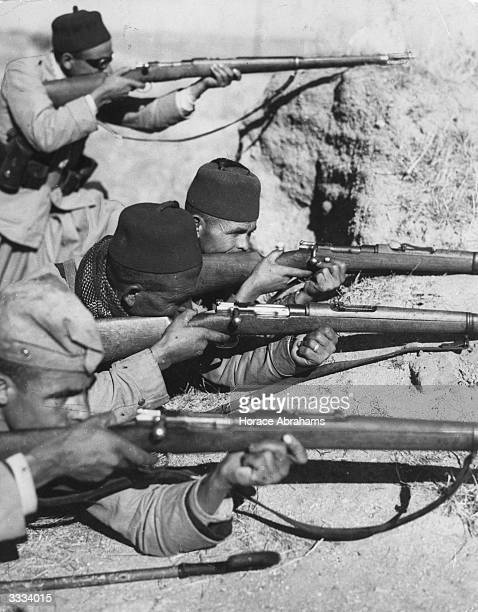 Moorish troops guarding an outpost near Navalcanero which General Franco's army captured during the Spanish Civil War