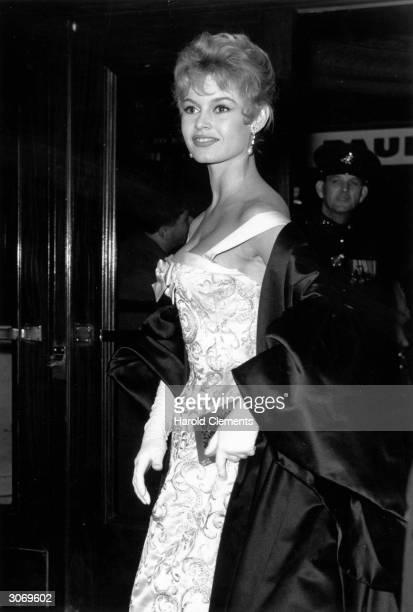 Film star Brigitte Bardot arriving for a Royal Command Film Performance
